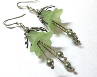 Green Southern Lily Flowers, Dangle Flower Earrings, Swarovski Austrian Crystals, Antique Brass