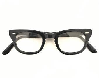Vintage 50s 60s Black Wayfarer Eyeglasses Frames Bigger Sunglasses Mad Men WOmen Nerd Geek B&L Romco Keyhole Bridge 46mm or 48mm Lens SALE