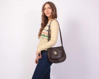 Vintage 70s PURSE / 1970s Dark Brown Soft Leather & Brass Shepard Boho Shoulder BAG