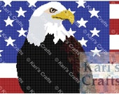 Bald Eagle Profile with USA Flag Afghan PDF Pattern Graph + Written Instructions - Instant Download