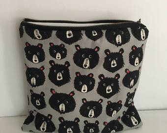 Zippered Wet Bag with Waterproof Lining - Cute Bears