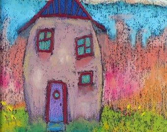 Lilac House—Original Oil Pastel with warm Lilac and Sunset colors