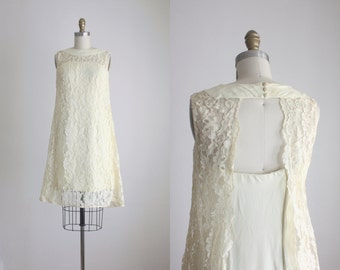 1960s cream lace shift dress