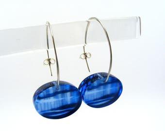 Perspex Drop Earrings -  Blue dangle earrings - Seaside Pier pattern - Saltburn Pier Earrings - Blue Acrylic dangle earrings - Perspex Blue