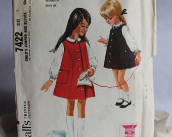1960s Girls Jumper and Blouse, McCall's 7422, c1964