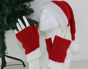 50% OFF SALE madmonkeyknits - Adult Santa Hat and Fingerless Gloves knitting pattern pdf download - Instant Digital File pdf knitting patter