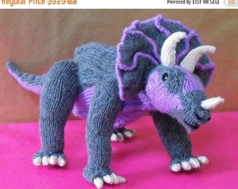 50% OFF SALE Instant Digital File PDF Download knitting pattern -Tracy Triceratops toy dinosaur pdf download knitting pattern