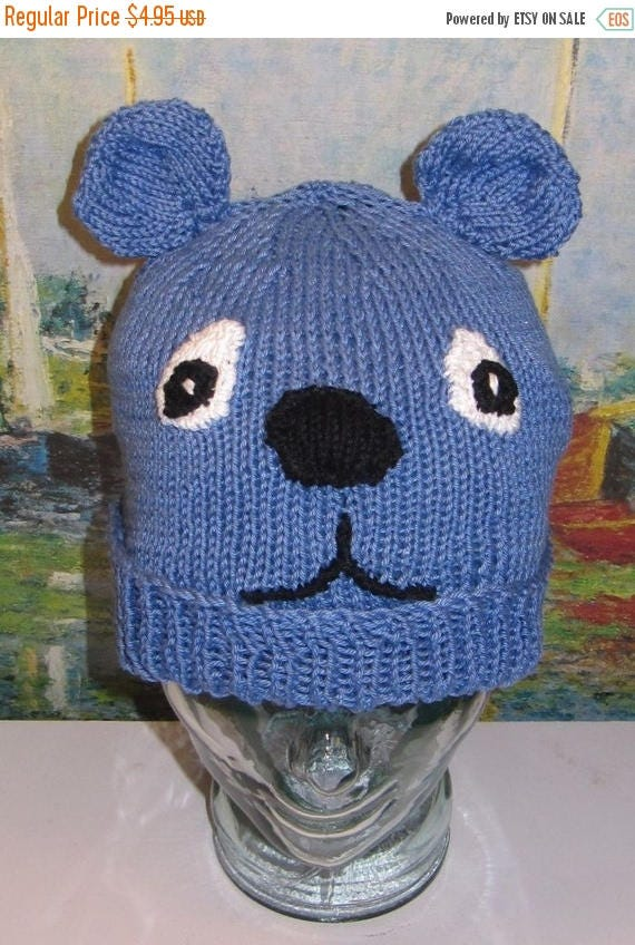 50% OFF SALE Instant Digital File pdf download knitting pattern  - madmonkeyknits blue bear beanie animal hat pdf knitting pattern