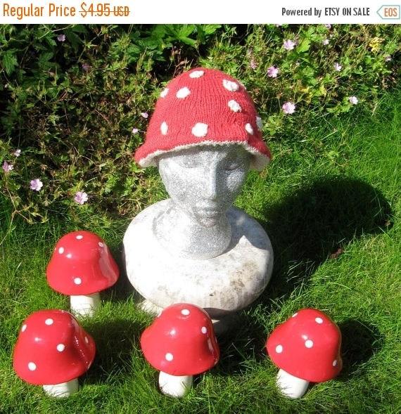 50% OFF SALE Instant Digital File PDF Download Magic Mushroom Beanie - Flyagaric Toadstool Hat pdf download knitting pattern.