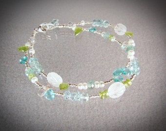 Blue Apatite, Aquamarine, Pearls and green Peridot 2-row 925 silver bracelet Size 7 /beaded bracelet/handmade bracelet/VNV Design 0221920173