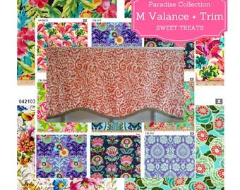 Custom Valance Shaped M with Trim -Paradise Collection / Modern Floral Valance, Boho Retro Valance, Colorful Tropical Valance,  Kids Valance