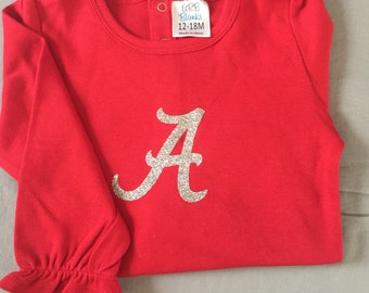 Red onsie bodysuit with Alabama A in silver glitter for baby 12 months