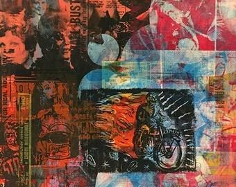 "Untitled #1 (24""x30"" monotype/screenprint on birch wood panel)"