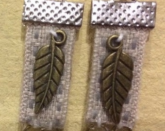 Fabric and antique brass leaf earrings