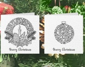 10 x Printable Christmas Colouring Greeting Cards - Festive Wreath, Tree, Star, Robin, Reindeer, Bauble, Candy Cane, Holly, Snowman & Sleigh