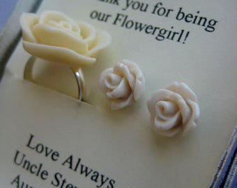 Flowergirl gifts, small sized rose earring, matching child ring, personalized notecards, free jewelry box.