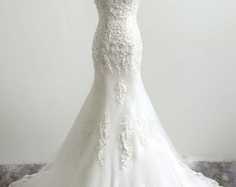 White Ivory Bridal Gown Custom Made Lace