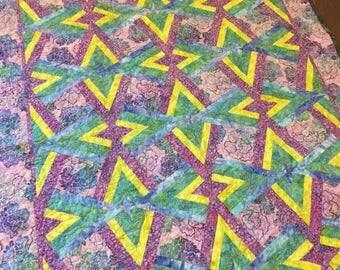 PURPLE BATIK Handmade Quilt - Double Diamond Pattern - 52 x 73 - Nellie J Designs - large lap, twin bedding
