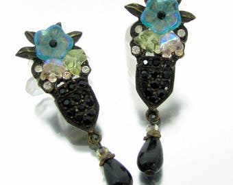 ART DECO FLORAL Earrings Sweet Romance Dangle Swarovski Crystal Rhinestone