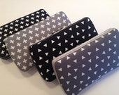 Designer Travel Wipes Case with Diaper Strap | Grey and Black | Triangles and Crosses | You Pick the Pattern