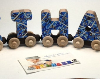 Custom EIGHT LETTER Name Train. Any Style or Design with Engine and Caboose, Hand Painted for you by Vibrant Trains