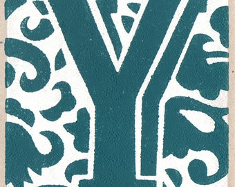 Letter Y. Linocut greeting card.