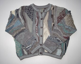 COOGI Australia Womens L Wild Geo Colorful Sweater Cropped Pocket Cardigan Mercerized Cotton, 3D Textured Mod Muted Colors