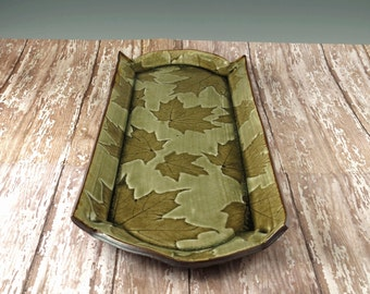 Handmade Pottery Tray - Ceramic Serving Dish - Desk Organizer Tray - Kitchen Organizer Tray - Home Decor - Maple Leaves - Bread Tray - 941