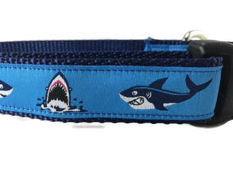 Dog Collar, Sharks, 1 inch wide, adjustable, quick release, metal buckle, chain, martingale, hybrid, nylon