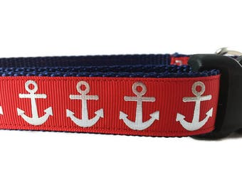 Dog Collar, Foil Anchors Red, 1 inch wide, adjustable, quick release, metal buckle, chain, martingale, hybrid, nylon