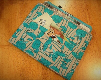 Turquoise and Gray Magazine & Tract Bag, Tablet Sleeve, With Contact Card Pocket