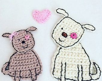 Crochet Dog Applique - Dog Craft Embellishment - Dog Cardmaking Applique - Dog Scrapbooking Applique - Dog Lovers Gift - Dog Decoration