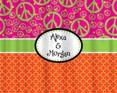 12 Days Christmas SALE Custom Personalized Quatrefoil Shower Curtain - With Peace Comb option, Hot Pink, Orange & Lime Accent - ANY colors o