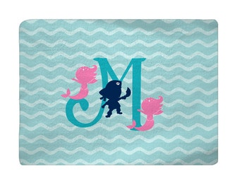 Mermaid and Pirate Comfort Bath Mat, Turquoise, Hot Pink, Navy, Other Colors shown grey, coral, navy, 27x18 inches - with Initial or Name