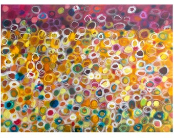 Original Abstract Painting, 18x24 Acrylic on Canvas Wall Art, Contemporary Home Decor, Colorful Circles, yellow purple white