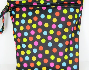 Large  PUL Wetbag Multi Colored Polkadots on Black Cloth Diaper Wetbag, Zippered Wetbag with Straps, Waterproof Wetbag, Baby Shower Gift