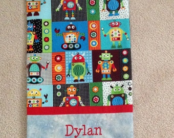Personalized travel size pillow case. Rockin robots. 12x16