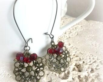 Brass Filigree Earrings - Vintage Earrings - Brass Filigree Red - Red Beaded Earring - Edwardian Earrings - Downton Earrings - Art Deco Ears