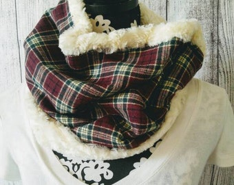 Flannel Cowl Scarf - Burgundy Plaid