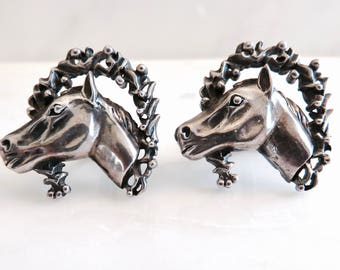 Circa 1950  Vintage Sterling Silver Horse Cufflinks