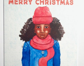 African American Christmas Card - Black Christmas Card - Female