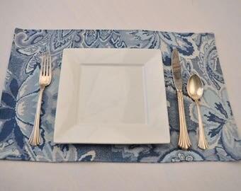 6 Eco Large Reversible Blue Placemats Upcycled Fabrics OOAK