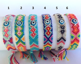 Evil eye woven bracelet  - boho hippie bracelet - friendship bracelet - protection - Greek jewelry -
