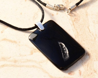 Black Agate Druzy Geode Rectangle Pendant Necklace with Sterling Silver Bail on Black Satin Cord with Silver Tone Lobster Clasp