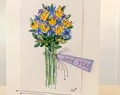 "Love You Flower Bouquet Watercolor Original Strathmore Card 5"""" x 6 7/8"" & Envelope  betrueoriginals"