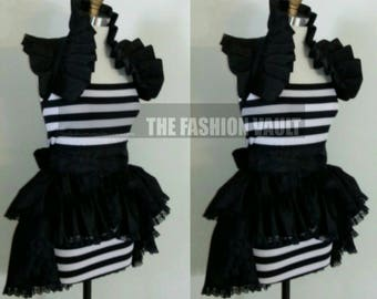 Dramatic Ringmaster Goth Bustle  Burlesque skirt and shoulder collar bolero Steampunk  Cosplay
