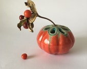 Glossy Orange Red and Matte Turquoise and Gold Tiny Bud Vase for One Flower Sea Bubble Lotus Pod Vessel 4