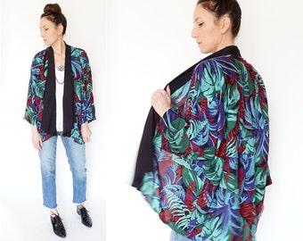 vintage JEWEL TONE leaves DRAPED blazer blouse
