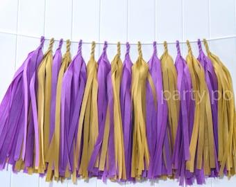 Plum & Antique gold tassel garland // wedding//party decoration//backdrop