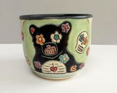 Small Bear Cup, Black and Green Wine Cup, Whiskey Cup, or Juice Cup with Flowers and Skulls, Animal Art Pottery
